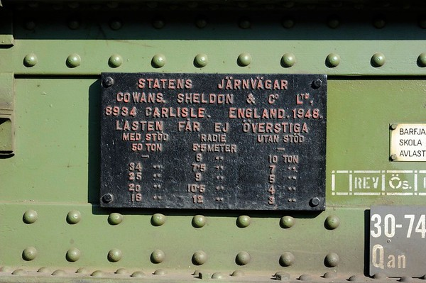 Cowans Sheldon breakdown crane, Nassjo, Sweden, Sat 6 September 2014 3.  The builder's plate.