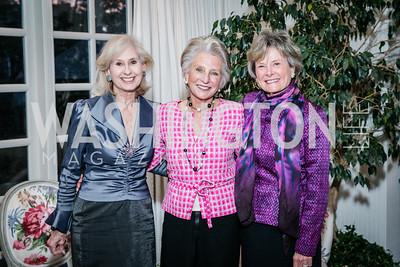 Willie Lewis, Jane Harman, Ambassador Molly Raiser. Photo by Alfredo Flores. Buffy Cafritz Party for Deborah Rutter. Bethesda, MD. March 12, 2015.
