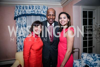 Toni Bush, Vernon Jordan, Jackie Bush. Photo by Alfredo Flores. Buffy Cafritz Party for Deborah Rutter. Bethesda, MD. March 12, 2015.
