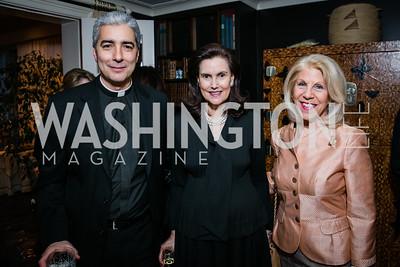 Msgr. Edward Filardi, Alexandra de Borchgrave, Kandie Stroud. Photo by Alfredo Flores. Buffy Cafritz Party for Deborah Rutter. Bethesda, MD. March 12, 2015.