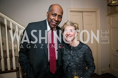 Vernon Jordan, Anne Friedman. Photo by Alfredo Flores. Buffy Cafritz Party for Deborah Rutter. Bethesda, MD. March 12, 2015.