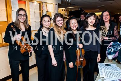 Heather MacArthur, Karen Lau, Dorotea Racz, Rachel See, Wen-Ni Chen, Rachel See. Photo by Tony Powell. CUA 50th Anniversary Gala Concert. Kennedy Center. April 12, 2015
