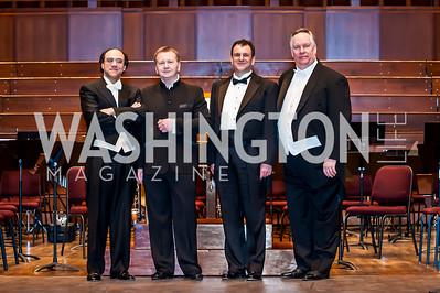 Simeone Tartoglione, Dr. Leo Nestor, Dimitar Nicolov, Thomas Pedersen. Photo by Tony Powell. CUA 50th Anniversary Gala Concert. Kennedy Center. April 12, 2015