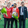 Melanie Booth & Candice Chapman - retired from the Team, are honoured prior to the match