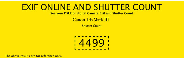 Shutter Count Canon 1ds MkIII