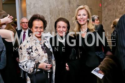 Liechtenstein Amb.  Claudia Fritsche, Lucky Roosevelt, Jane Cafritz. Photo by Tony Powell. Ina Ginsburg Celebration. Kennedy Center. February 9, 2015