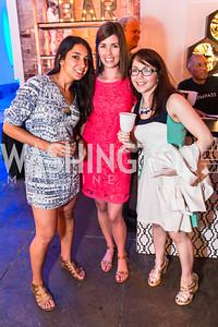 Zarina Zuparkhodjaeva, Allison Shuffield, Liz Delgado-Steo. Photo by Alfredo Flores. Compass DC launch. Long View Gallery. June 23, 2015