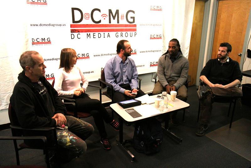 Tighe and Medea Benjamin of Code Pink John Zengas, Travis Dupree & Coulter Loeb