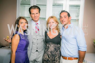 Sarah Kheterpul, Paul Vincent, Ermina Bisoc, Diamantis Pierrakos, DC Swim Show, Media Preview, Cafe Milano, July 23, 2015.  Photo by Ben Droz.