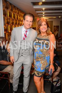 Paul Vincent, Elizabeth Webster, DC Swim Show, Media Preview, Cafe Milano, July 23, 2015.  Photo by Ben Droz.