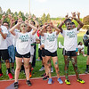 Memorial Middle School runners excited after winning the 5th, 6th, 7th and 8th grade races during the 102nd running of the Junior/Senior Class Relays at Crocker Field on Thursday evening. SENTINEL & ENTERPRISE / Ashley Green