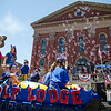 The Great Wolf Lodge float passes Old City Hall during the 4th of July parade on Monday morning. SENTINEL & ENTERPRISE / Ashley Green