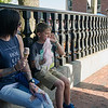 Nicole Menegies and Jayson, 9, pause for treats during the Civic Days Block Party on Saturday evening. SENTINEL & ENTERPRISE / Ashley Green