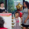 Abigail Viera, 6, steals the spotlight as mom Leticia Caballero receives the Spirit of Cleghorn award from Executive Director Joana Dos Santos during the United Neighbors of Fitchburg's 9th annual Thank You Event on Wednesday evening. SENTINEL & ENTERPRISE / Ashley Green