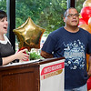 "William ""Izzy"" Irizarry gets emotional as he receives the Spirit of Cleghorn award from Executive Director Joana Dos Santos during the United Neighbors of Fitchburg's 9th annual Thank You Event on Wednesday evening. SENTINEL & ENTERPRISE / Ashley Green"