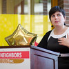 Executive Director Joana Dos Santos speaks during the United Neighbors of Fitchburg's 9th annual Thank You Event on Wednesday evening. SENTINEL & ENTERPRISE / Ashley Green
