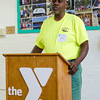 Fitchburg DPW worker Raymond Seaforth speaks during the official kickoff to the capital improvement rennovation project at the YMCA in Fitchburg on Wednesday morning. SENTINEL & ENTERPRISE / Ashley Green