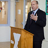 James Hohman speaks during the official kickoff to the capital improvement rennovation project at the YMCA in Fitchburg on Wednesday morning. SENTINEL & ENTERPRISE / Ashley Green