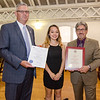 State Representative Stephan Hay and Mayor Stephen DiNatale present Isabelle Tran with an Outstanding Young American award during the annual Civic Days luncheon at the Senior Center on Friday morning. SENTINEL & ENTERPRISE / Ashley Green
