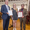 State Representative Stephan Hay and Mayor Stephen DiNatale present Sydney Crocker with an Outstanding Young American award during the annual Civic Days luncheon at the Senior Center on Friday morning. SENTINEL & ENTERPRISE / Ashley Green