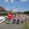 Mayor Stephen DiNatale leads kids around Riverfront Park for the Doll Carriage and Bike Parade. SENTINEL & ENTERPRISE / Julia Sarcinelli