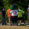 Wally the Green Monster supervises the duck race setup at Riverfront Park in Fitchburg on Sunday afternoon. SENTINEL & ENTERPRISE / Ashley Green