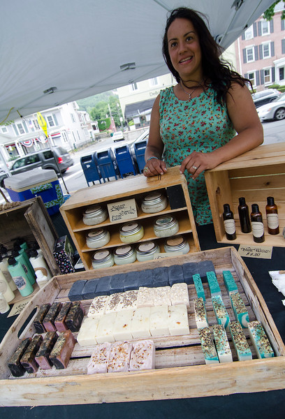 Donna McGrath, from Sweet Pumpkins Farm in Hubbardston sells her homemade products at the Fitchburg Farmers Market. The market, usually held at Riverfront Park, will now be held on the Upper Common every Thursday 4-7 pm through the fall. SENTINEL & ENTERPRISE / Ashley Green
