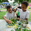 Israel, 5, and Josiah Wanner, 8, prepare a salad with volunteers from Growing Places at the Fitchburg Farmers Market. The market, usually held at Riverfront Park, will now be held on the Upper Common every Thursday 4-7 pm through the fall. SENTINEL & ENTERPRISE / Ashley Green