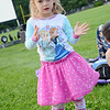 "Avery Ledoux, 3, before the showing of ""Frozen"" at Nikitas Field in Fitchburg on Friday night. SENTINEL & ENTERPRISE / Ashley Green"