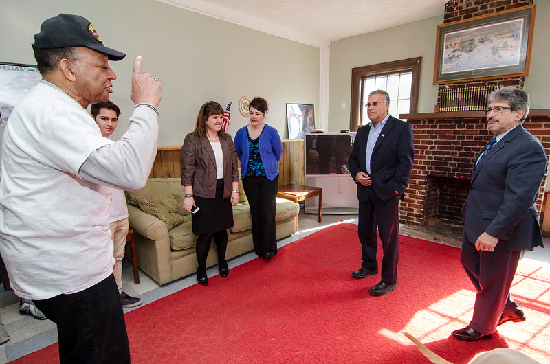 Fitchburg Mayor Stephen DiNatale and Leominster Mayor Dean Mazzarella joined students from the Leominster CTEi program to tour the newly rennovated New Patriots Veterans Outreach Center on Friday morning. SENTINEL & ENTEPRISE / Ashley Green