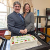 Mayor Stephen DiNatale and State Senator Jennifer Flanagan share a laugh as they cut a birthday cake together during a group birthday party at Valley Stream Rehabilitation and Healthcare Center on April 15. SENTINEL & ENTERPRISE / Ashley Green