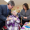 Mayor Stephen DiNatale and State Senator Jennifer Flanagan greet Betty Jacobs during a group birthday party at Valley Stream Rehabilitation and Healthcare Center on April 15. SENTINEL & ENTERPRISE / Ashley Green