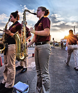 The Dripping Springs High School Band debuts its 2013-2014 marching band at their first football game of the season in San Marcos, Texas. Photographs shot at Bobcat Stadium on 8.30.2013. Photography by Frank Newland Alamopics LLC. www.alamopics.com ©