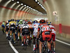 The peloton is still less than two minutes behind in one of Trentino's long tunnels...