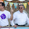 Gardner Mayor Mark Hawke and Leominster Mayor Dean Mazzarella watch the events during the Greater Gardner Relay for Life on Friday evening. SENTINEL & ENTERPRISE / Ashley Green