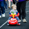 Kellen Mallard loops the track in style during start the Greater Gardner Relay for Life. SENTINEL & ENTERPRISE / Ashley Green