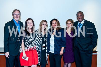 George Lehrman, Elisa Lees Munoz, Pilar O'Leary, Lakshmi Singh, Heidi Levine, Bryan Monroe. Photo by Tony Powell. IWMF Reporta Launch. Newseum. October 2, 2015