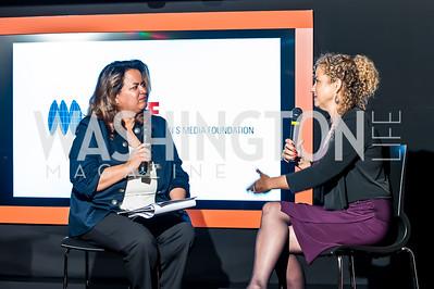 Lakshmni Singh, Heidi Levine. Photo by Tony Powell. IWMF Reporta Launch. Newseum. October 2, 2015