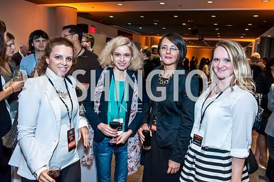Biljana Bozhinovska, Tetiana Matychak, Barbara Pavlijasevic, Angela Milivojevic. Photo by Tony Powell. IWMF Reporta Launch. Newseum. October 2, 2015