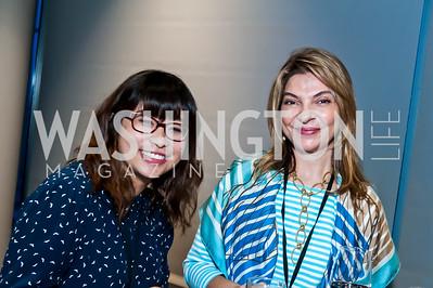 Dominique Deleon, Doaa Taha. Photo by Tony Powell. IWMF Reporta Launch. Newseum. October 2, 2015