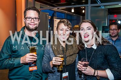 Ilya Lozovsky, Siobhan O'Grady, Hannah Stonebreaker. Photo by Tony Powell. IWMF Reporta Launch. Newseum. October 2, 2015
