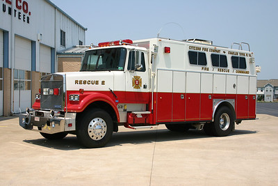Rescue 2 was this 1989 White-GMC/American Eagle that sold to Rangeley, Maine in 2012.  Rescue 2 and the Pierce 4x4 engine were sold when the Rosenbauer rescue engine was delivered.