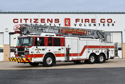 As photographed in March 2017 in front of Station 2.  Truck 2 is a 2016 Spartan Metro/Smeal Sirius 105'.