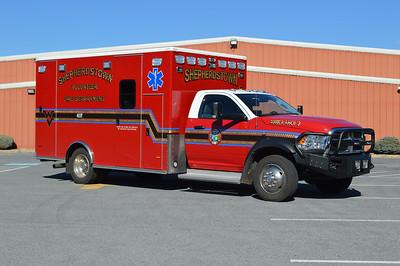 Officer side view of Ambulance 3, a 2016 Dodge 4500 4x4/PL Custom.