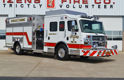 Officer side of Rescue Engine 2.  This unit replaced a pumper and rescue squad.
