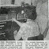 "This is a newspaper clipping from the time when Sigel switched to the ""modern"" dial telephone system. The clipping was shared by Mrs. Anthony Zumbahlen Jr., seated in the photo."