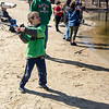 Michael Martin, 8, casts his line during the Barrett Park fishing derby on Saturday morning in Leominster. SENTINEL & ENTERPRISE / Ashley Green