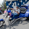 Charles Parks pulls into the Westminster VFW during the Good Times Motorcycle Run in memory of hit-and-run victim Frankie Fortuna on Saturday morning. SENTINEL & ENTERPRISE / Ashley Green