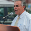 Leominster Mayor Dean Mazzarella addresses the crowd during a Peace Vigil in Monument Sq. SENTINEL&ENTERRPRISE/ Jim Marabello