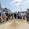 State and city officials, along with Mass DOT employeesm during the official groundbreaking for a $3.2 million project to reconstruct Mechanic Street in Leominster. SENTINEL & ENTERPRISE / Ashley Green